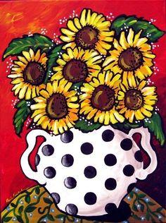 Sunflowers Bouquet Flowers Polka Dot Whimsical Original Folk Art Painting