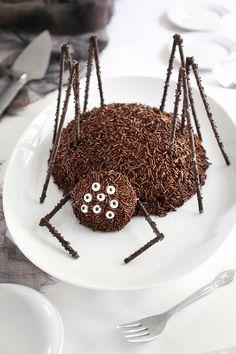Chocolate Spider Cake Recipe  - super cute Halloween dessert recipe for a Halloween party!