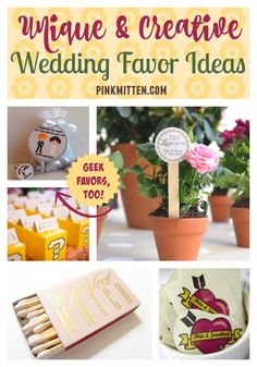 Make sure your guests remember your wedding and keep their memento! Take a look at these out-of-the-box wedding favor ideas, including fun geeky favors. Geek Wedding Favors, Creative Wedding Favors, Pink Mittens, Co Working, Best Part Of Me, Unique Weddings, Party Planning, Birthdays, Marriage