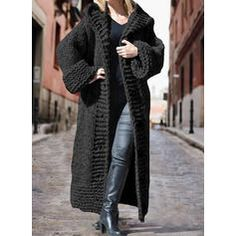Solid Chunky knit Hooded Casual Long Cardigan (1002322445) - Sweaters - #322445 vencano Hooded Cardigan, Black Cardigan, Long Cardigan, Long Sweaters For Women, Shirt Bluse, Knit Fashion, Fashion Shoes, Women's Fashion, Sweater Coats