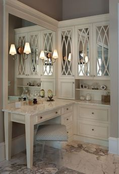 luxurious built-in makeup vanity with extensive storage | the it