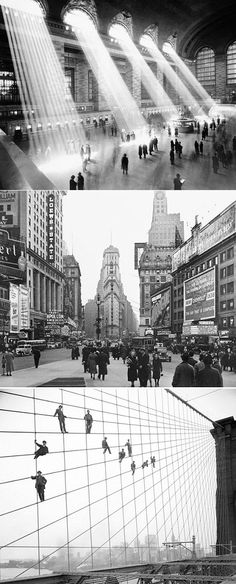 Last century NYC: main room of New York City's Grand Central Terminal, Times Square and painters suspended on cables of the Brooklyn Bridge!