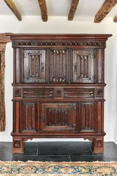 Late Gothic linenfold cupboard - Marhamchurch Antiques Gothic Furniture, Antique Furniture, China Cabinet, Cupboard, Armoire, Carving, The Originals, Antiques, Storage