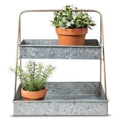 Smith & Hawken™ Galvanized 2 Tier Plant Stand