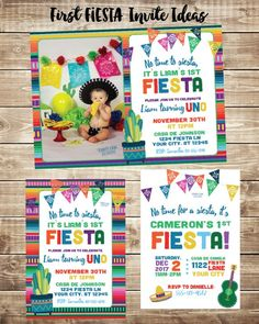First Fiesta Invitations Invite With Photo Mexican Invitation 1st Birthday Party Ideas