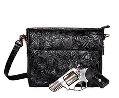 Gun Tote'n Mamas - Concealed Carry Purse - Leather - Tooled American Cowhide (Black) >>> To view further for this item, visit the image link.