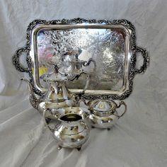 4 Pc Ascot Community Silver Plate Tea Set Pot by SilverFoxAntiques, $350.00