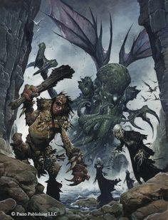 Pathfinder RPG Bestiary 4 cover art by Wayne Reynolds: