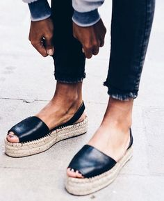 Current SS17 obsession: Casual-chic, platform, leather espadrilles.