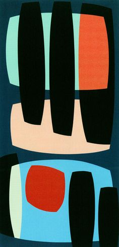 Karl Benjamin, Black Pillars, 1957, oil on canvas