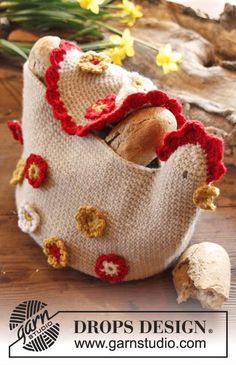 chicken basket VINTAGE free pattern http://pinterest.com/gigibrazil/crochet-kitchen/