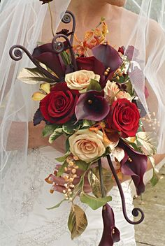 Cascade Bouquet :: Calla Lilys, Roses, Orchids and Fern Curls