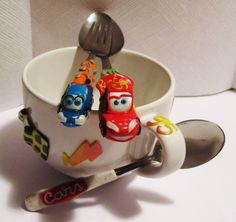 Cars mug and spoon, forks