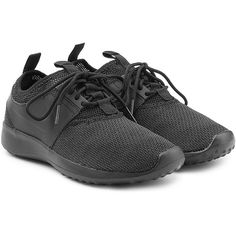 Nike Leather and Mesh Sneakers ($63) ❤ liked on Polyvore featuring shoes, sneakers, black, nike trainers, nike footwear, leather trainers, mesh shoes and black trainers