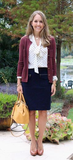great work look- love the bow blouse and cardi