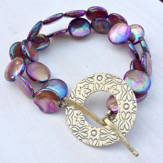 Purple Abalone Shell and Brass Bracelet by SuzannaMcMahan on Etsy