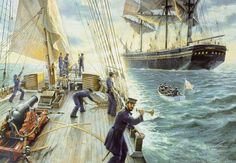 A boarding party from the Revenue Cutter Morris prepares to board the passenger vessel Benjamin Adams on 16 July 1861 about 200 miles east of New York.  The Benjamin Adams was bound for New York from Liverpool and carried 650 Scottish and Irish immigrants.  The Revenue Cutter Service was originally established to enforce U.S. tariff laws at sea and inspected incoming merchant vessels for compliance with those laws, as is illustrated here.