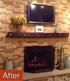 our diy airstone fireplace project covered ceramic tile fireplace and hearth with autumn mountain shade of airstone added new bluestone