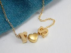 Initial heart necklace gold initial necklace lovers by Omoroka, $38.00