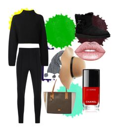 """All black with a little pop"" by natadork on Polyvore featuring FOSSIL, Gloria Coelho, DKNY, UGG, Charlotte Russe and Lime Crime"