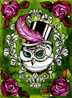 Cute tattoo flash of a owl in a top hat lol