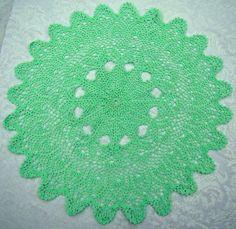 Mint green handmade crochet tabletop centerpiece by BearMtnCrochet