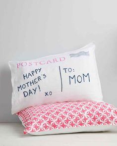 Postcard Pillow | Martha Stewart Living - Living long distance from Mom? This Mother's Day, send her your love with a DIY pillow in the shape of a vintage postcard (stamped with a personalized message specially meant for her).