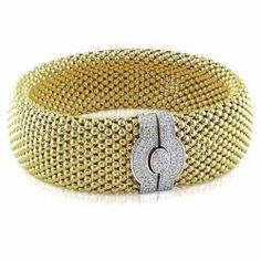 @Overstock - This wide-style flexible bangle features a mesh design of yellow gold. The 14-karat two-tone bracelet is further adorned with a white gold pressure clasp encrusted with white diamonds.http://www.overstock.com/Jewelry-Watches/14k-Two-tone-Gold-1ct-TDW-Diamond-Bracelet-G-H-SI1-SI2/5582006/product.html?CID=214117 $3,404.99