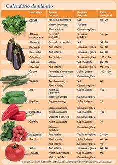 Calendário de cultivo. Hortaliças, período do ano, região do país e ciclo. De 21…