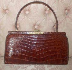 Stunning Large French Paris 1950 S Crocodile Alligator Handbag By Vintagehandbagdreams On Etsy 1950s