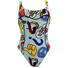 """1980s Moschino Mare Pop art swimwear """"oh no, not another silly moschino print""""   From a collection of rare vintage swimwear at https://www.1stdibs.com/fashion/clothing/swimwear/"""