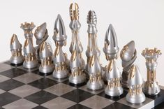 Chess by Bathgate Board Game Pieces, Board Games, Dragon Chess, Set Card Game, Chess Set Unique, Art Through The Ages, Kings Game, Metal Projects, Metal Crafts
