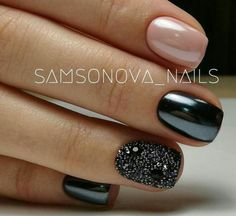 80 Incredible Black Nail Art Designs for Women and Girls – The Best Nail Designs – Nail Polish Colors & Trends Black Nails With Glitter, Black Nail Art, Black Art, Glitter Accent Nails, Black Polish, Cute Black Nails, Black Nail Tips, Glitter Uggs, Glittery Nails