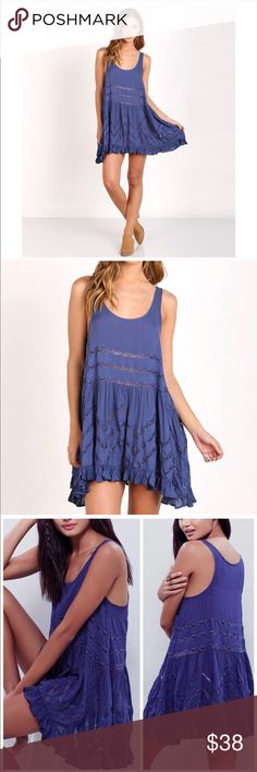 """Free people Viole and lace Trapeze slip dress Gently worn, beautiful intimately free people blue polka dots """"waterfall combo"""" dress. No rips tears  or stains. See through lace as pictured. Viole and lace Trapeze slip dress Size XS but wears/ fits loss oversize fit. Perfect for a boho look. Free People Intimates & Sleepwear"""