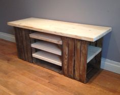 Handmade crate tv storage unit with scaffold board shelving