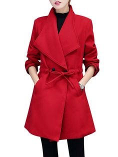 Elegant Women Long Sleeve Lapel Bandage Waist Woolen Coat