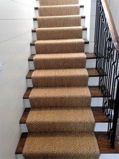 Gingham Tweed Beige Sisal Style Stair Runner Hall Runner