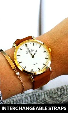 pretty watch with interchangeable straps