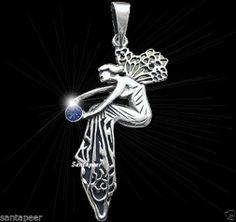 Jugendstil Elfen Feen Amulett Avalon 925 Sterling Silber mit Kristall Fee Elfe