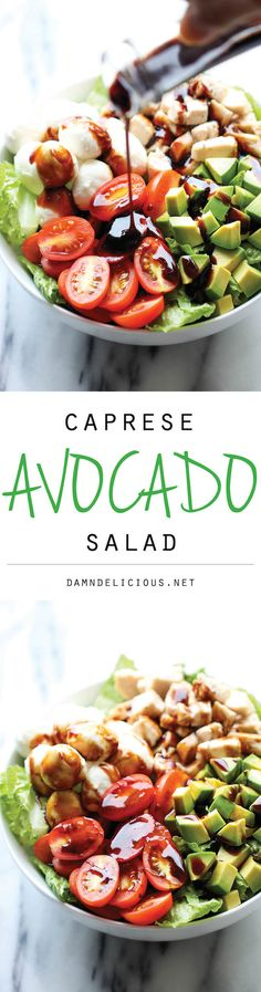 I love Caprese. Seriously want to try this recipe very soon. Caprese Avocado Salad - A light, refreshing salad loaded with mozzarella, tomatoes, basil and avocado with a sweet balsamic reduction! I Love Food, Good Food, Yummy Food, Tasty, Healthy Salads, Healthy Eating, Healthy Recipes, Healthy Food, Comidas Lights