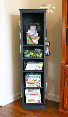 Gaming Tower Swivel Organizer... I love this DIY version of the Pottery Barn Teen's Swivel Tower!  I could use one of these for every room!  Different items but same basic idea -- neatly and handily store items we use often!