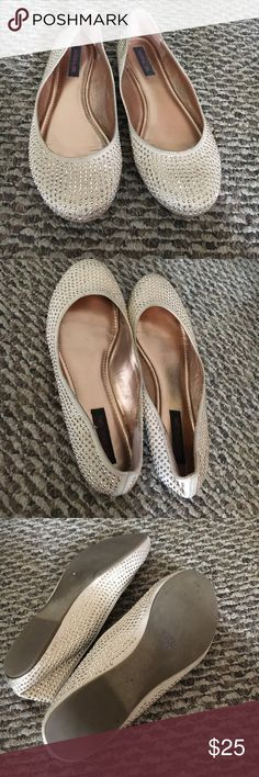 Gold studded flats Gold studded flats size 10 made by material girl in great condition really comfortable on your feet Material Girl Shoes Flats & Loafers