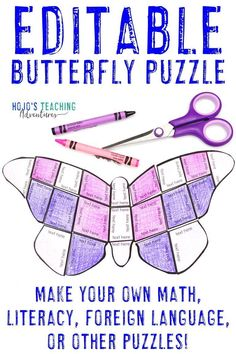 This EDITABLE butterfly activity is great for your 1st, 2nd, 3rd, 4th, 5th, 6th, 7th, or 8th grade elementary or middle school kids. Make puzzle games on ANY topic - math, literacy, Spanish or any foreign language, science or social studies vocabulary, and much more. Click through today to grab these for your first, second, third, fourth, fifth, sixth, seventh, or eighth graders! (Year 1, 2, 3, 4, 5, 6, 7, 8) #HoJoTeaches #Spring #Butterfly 5th Grade Classroom, Middle School Classroom, School Kids, School Stuff, Math Literacy, Science Vocabulary, Book Activities, Grammar Activities, Math Games