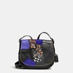 Embellished Patchwork Saddle Bag 23 in Glovetanned Leather