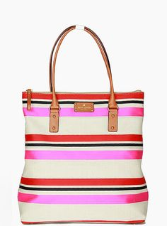 Kate Spade Jubilee Stripe Bon Per Shoulder Purse Rainbow Bag