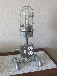 Industrial Table Desk Cage Lamp usb charger by CoSi7Industrial