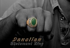Mens Signet Ring. Statement Jewelry. Goldsmith Made with all ring sizes available. Sterling silver or solid gold material with emerald decoration at top. Check our link and ask for your coupon.