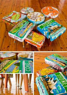 State/Country Fabric covered stools- The Australia Project -