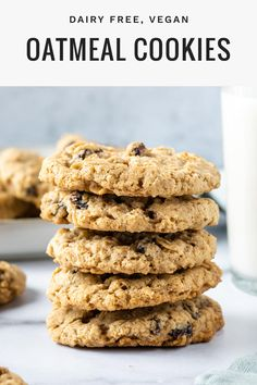 These vegan oatmeal raisin cookies are the best! They're soft and chewy with slightly crispy edges, and super easy to make without butter or eggs. With nutty old-fashioned oats and sweet raisins in ever bite, I promise you won't be disappointed. Vegan Oatmeal Raisin Cookies, Oatmeal Cookie Recipes, Oatmeal Cookies Without Butter, Healthy Vegan Cookies, Vegan Dessert Recipes, Dairy Free Recipes, Vegetarian Desserts, Diabetic Desserts, Baking Desserts