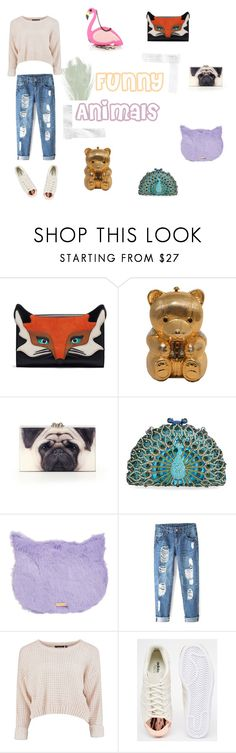"""funny animals"" by elisa-soriano on Polyvore featuring moda, Judith Leiber, Charlotte Olympia, Tasha, adidas, Moschino, women's clothing, women, female y woman"